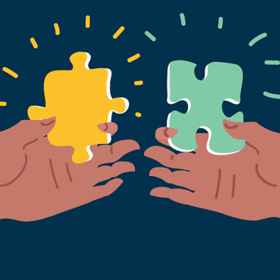 Illustration of two hands; one holding a green puzzle piece and the other holding a yellow puzzle piece.