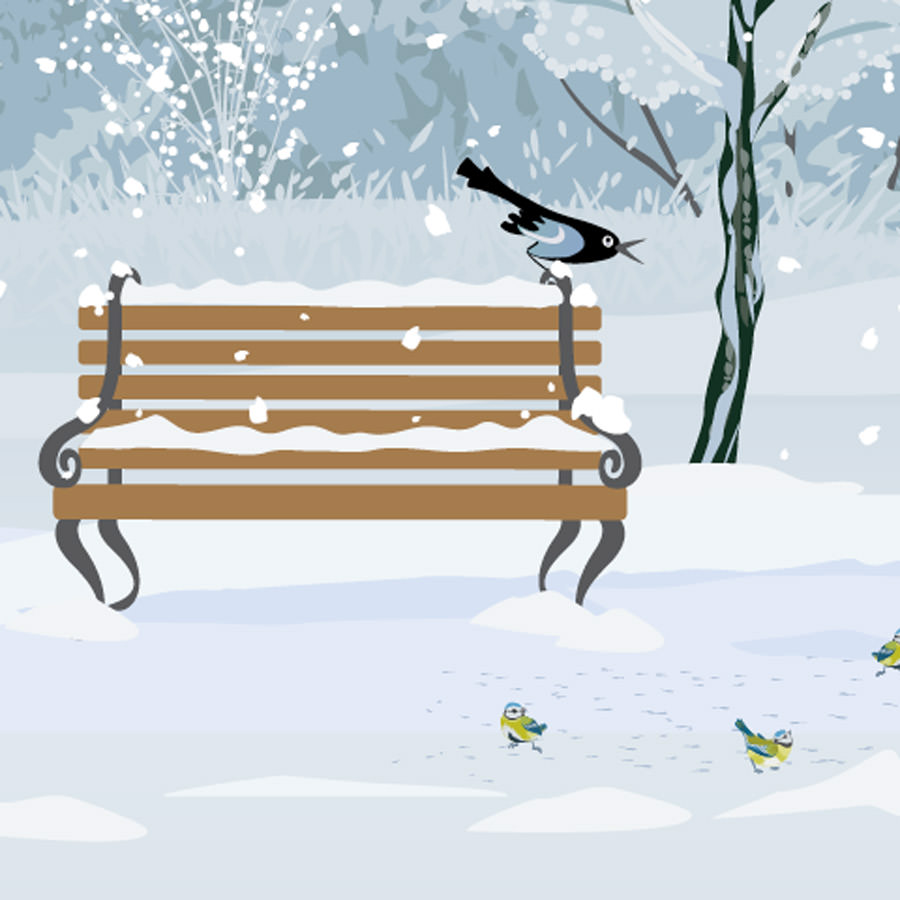 Illustration of a park bench on a snowy winter day