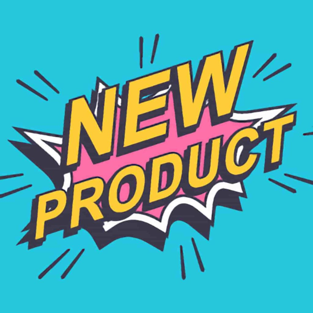 The words NEW PRODUCT blasting through the bright blue background they're sitting on leaving a hot pink blast mark behind