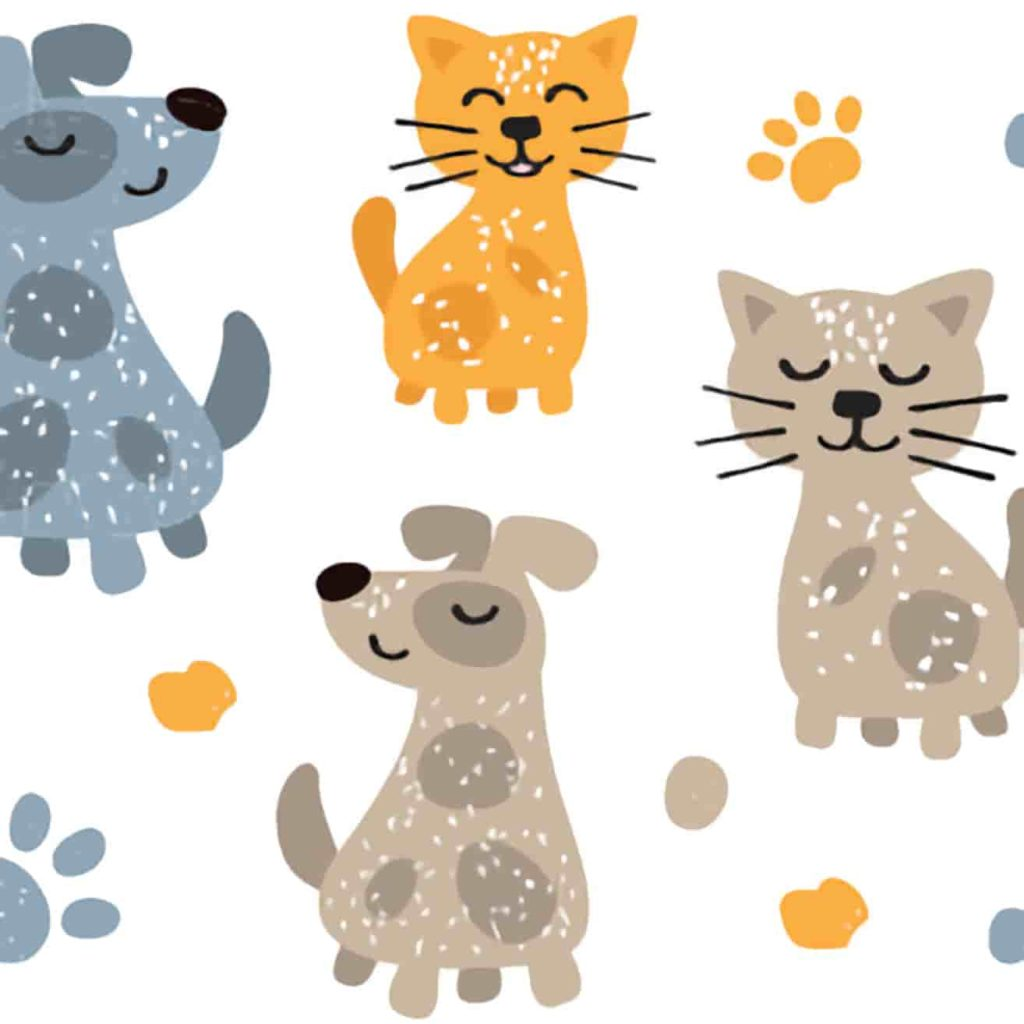 Cute illustration of content puppies and kittens sitting together with paw prints in the background