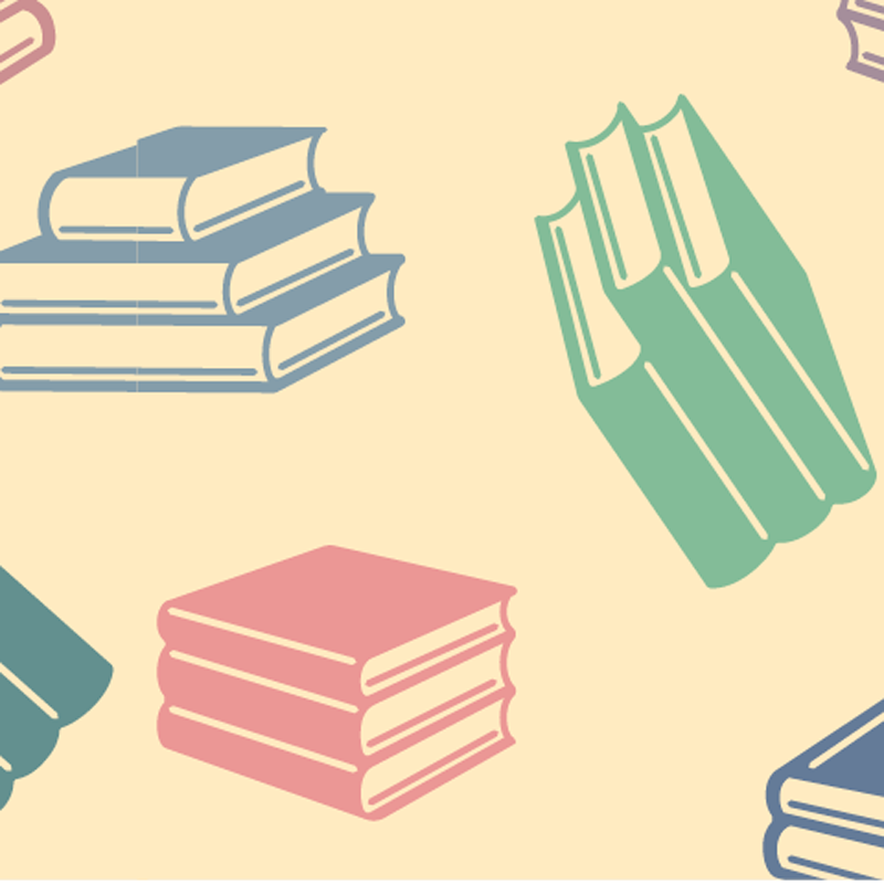 Illustration of multiple stacks of books, some open, on a light yellow background